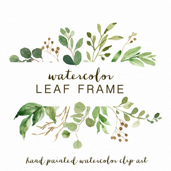 watercolor leaf frame leaves wedding invitation clipart etsy
