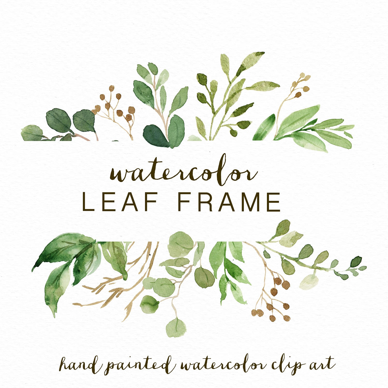 Watercolor Leaf frame/leaves/wedding invitation/clipart ...