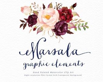 Watercolor floral Clip Art-Marsala Graphic Elements/Small Set/Individual PNG files/Hand Painted/Wedding design/Bohemian/Boho/Rustic
