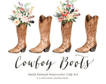 Watercolor cowboy boots/Wedding/Clip art collection/Individual PNG files/Hand Painted/boho style/rustic