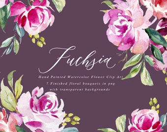 Watercolor floral Clip Art-Fuchsia/Small Set/Individual PNG files/Hand Painted/Wedding design