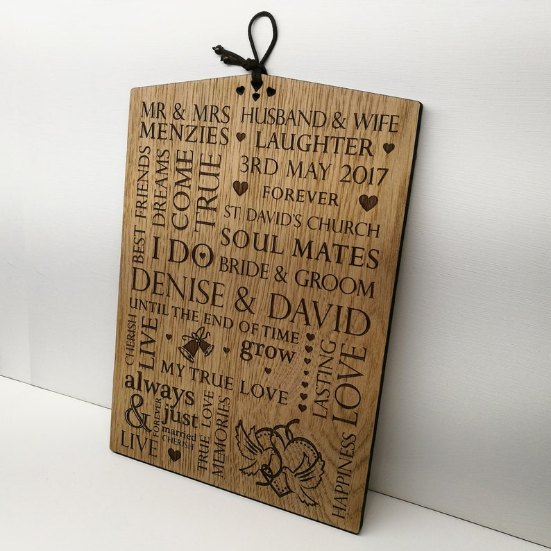Wedding Gift Personalised Wooden Plaque Sign Bride And Groom Present