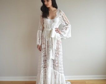 Bohemian boho bride robe lace bridal robe bridesmaid robe bridesmaid gift  lingerie sexy lingerie wedding gift bride briddal shower gift 14a972032