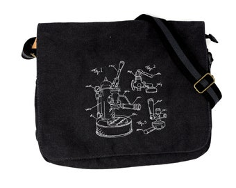 db2f2ad89808 Espresso machine schematic black canvas messenger bag. Zip top and  additional pockets. Sturdy bag for school or college.