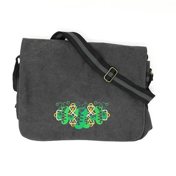Shamrock and Ireland Embroidered Canvas Messenger Bag