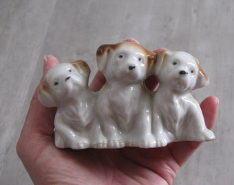 Vintage Puppies in a Row - Dog Figurine