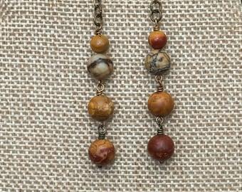 Brick red, tan, and beige jasper stone dangle earrings