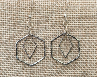 Hammered silver hexagon and diamond shape geometric earrings
