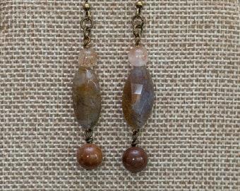 Elegant burgundy and blush agate stone dangle earrings