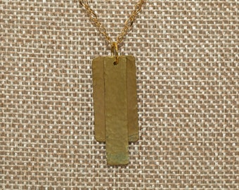 Hammered brass layered rectangle necklace on delicate chain in two size options