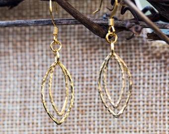 Hammered brass layered elliptical geometric earrings
