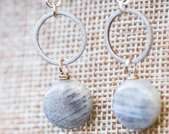 Silver ring and labradorite stone earrings