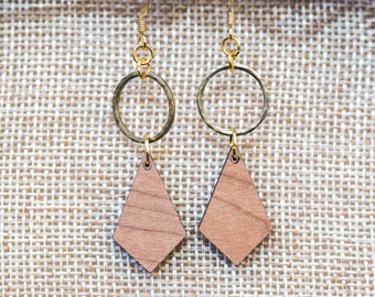 Hammered brass circle with wooden diamond shape earrings