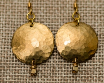 Hammered domed brass disk with tiny brass square earrings