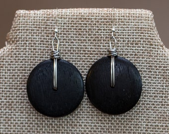 Large black wooden disk wire wrapped earrings