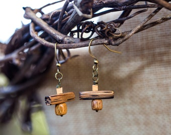 Wooden square and rectangle geometric earrings