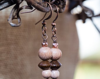 Two-tone wooden bead drop earrings with copper accents