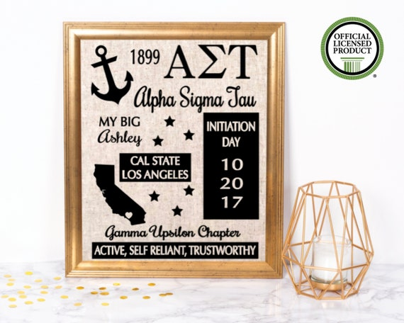 Alpha Sigma Tau Sister Gift Sorority Sign Sorority Sister Gift Big Little Sister Gift Sorority Initiation Gift Sorority House
