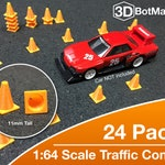 1:64 Scale Traffic Cones (24 pk) for Hot Wheels Matchbox Toy Car Dioramas