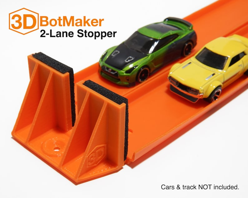 2-Lane Track Stopper For Hot Wheels Orange Track & Cars image 0