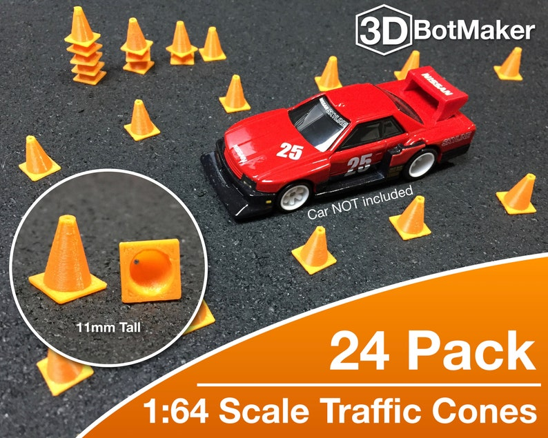 1:64 Scale Traffic Cones 24 pk for Hot Wheels Matchbox Toy image 0