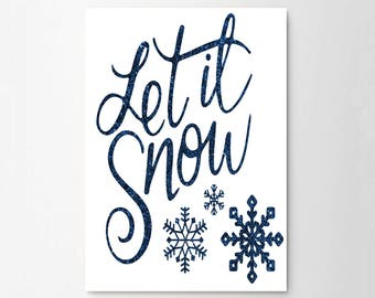 Let It Snow Winter Christmas Typograhy Inspirational Quote Wall Fine Art Prints, Art Posters