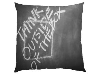 Think outside the box - Typograhy Inspirational Quote Cushion Case Covers, New Cotton Textile With Or WIthout Inner