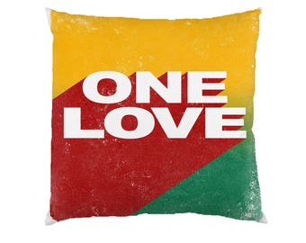 One Love - Typograhy Inspirational Quote Cushion Case Covers, New Cotton Textile With Or WIthout Inner