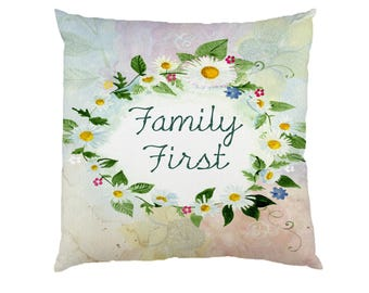 Family First - Typograhy Inspirational Quote Cushion Case Covers, New Cotton Textile With Or WIthout Inner