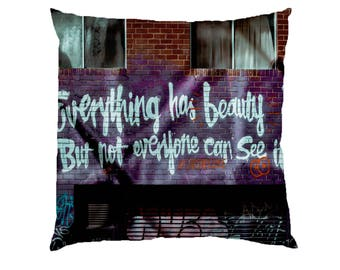 Everything had Beauty Typograhy Inspirational Quote Cushion Case Covers, New Cotton Textile With Or WIthout Inner