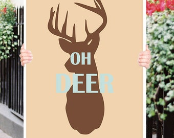 oh deer Stag  Typograhy Inspirational Quote Wall Fine Art Prints, Art Posters