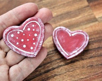 Heart magnets set of 2 made from Salt Dough, Fridge magnets, Office accesories, Valentines hearts, Heart magnets favors