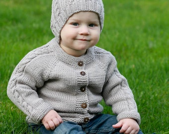 MADE TO ORDER Hand knitted baby sweater with hood and