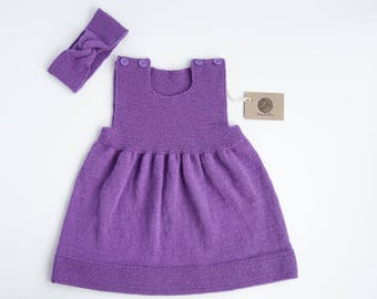 SALE 60% OFF/ Ready to ship/ Hand knitted baby set (dress and headband) violet color/ Size 12-18 months