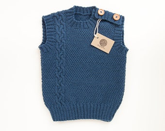 5ac26bb5c MADE TO ORDER/ Hand knitted baby, toddler vest/ Merino wool