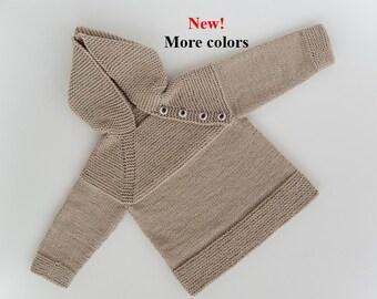 963a4c4056b1af MADE TO ORDER/ Maglione bambino a maglia a mano con cappuccio e manica  raglan/ lana Merino