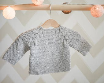 8b2aefc43 MADE TO ORDER  Hand knitted baby girl sweater  Merino wool