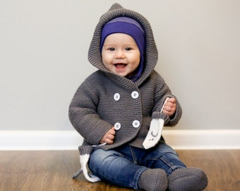 MADE TO ORDER/ Hand knitted baby sweater/jacket with hood and pockets/ Merino wool