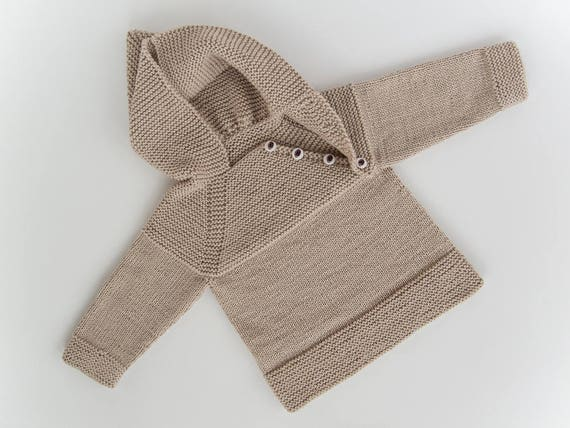 MADE TO ORDER Hand knitted baby sweater with hood and raglan sleeve Merino wool