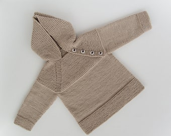 MADE TO ORDER/ Hand knitted baby sweater with hood and raglan sleeve/ Merino wool