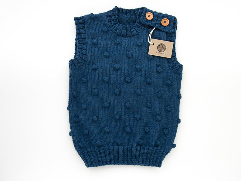 935449f24 MADE TO ORDER  Hand knitted baby toddler vest  popcorn vest