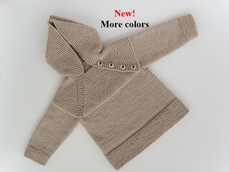 MADE TO ORDER/ Hand knitted baby sweater with hood and raglan image 0
