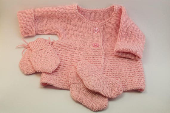 8a3df2a1f MADE TO ORDER  Hand knitted kimono style baby girl sweater