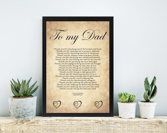 Dad Christmas Birthday Gift Plaque Personalised Daughter Wedding Poem Father Of The Bride Thank You Vintage Paper Design