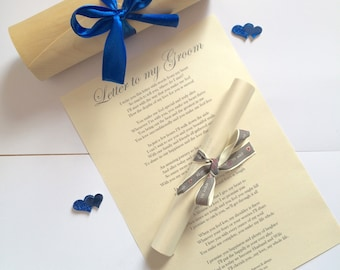 wedding gift for groom from bride on wedding day personalised wedding poem letter to my groom in scroll box keepsake present gift for him