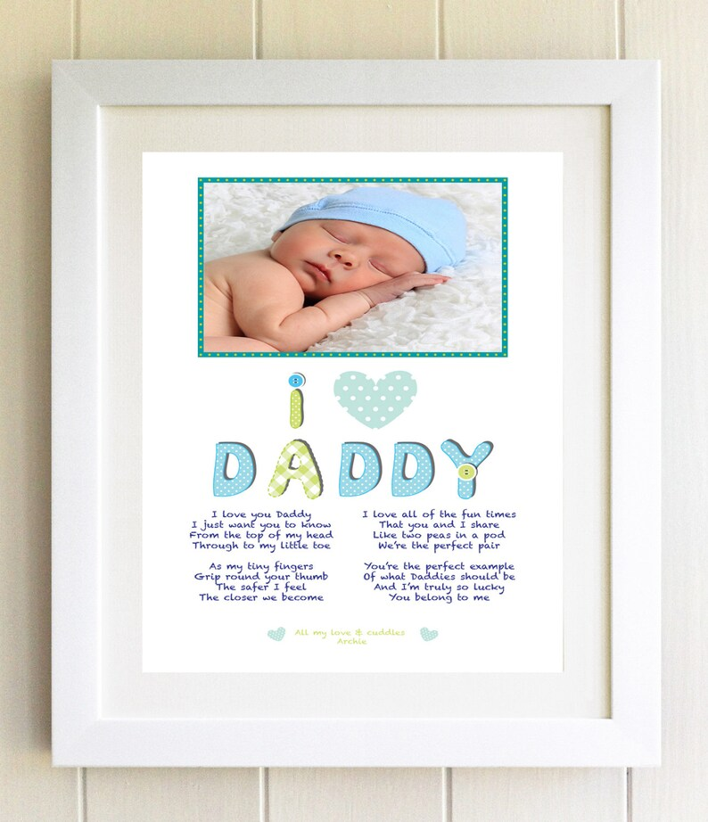 I Love Daddy Photo Frame Plaque Poem Print Personalised Dad