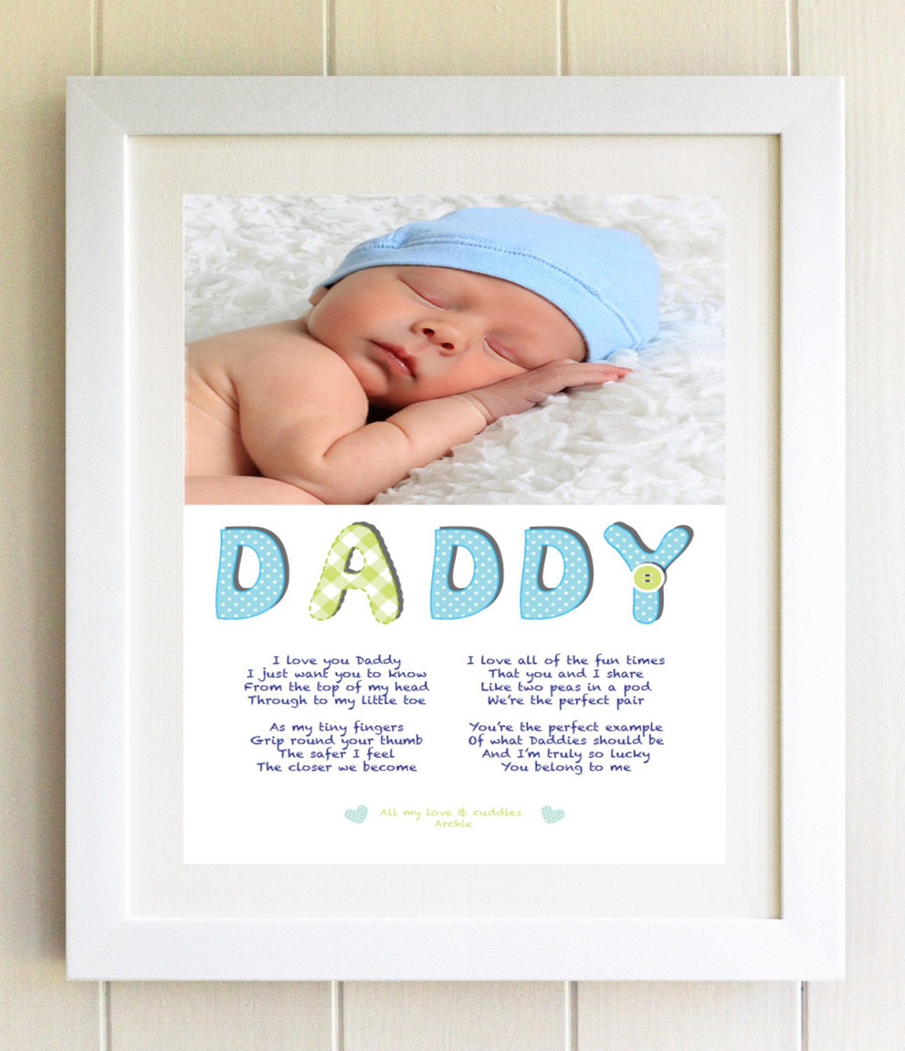 New Daddy Dad Gift Personalised Plaque Poem Framed Photo Birthday Present Idea Unique Baby To