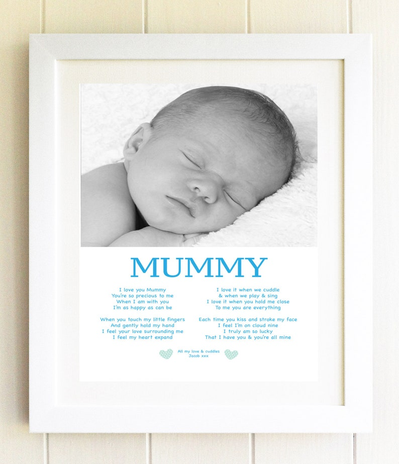 I love mummy photo gift plaque Present Son Poem Baby Boy Photo Frame  Birthday Present idea Personalised Print unique