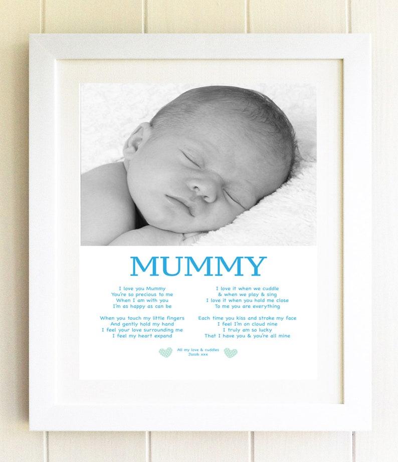 I love mummy photo gift plaque Present Son Poem Baby Boy Photo Frame  Birthday Present idea Personalised Print unique