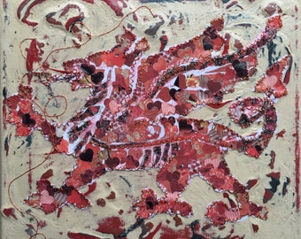 Welsh Dragon Canvas. Welsh Gift, handmade Dragon Canvas with a stitched Red Dragon.